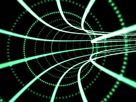 suggests: Green neon tunnel that suggests data flow. Communication concept.