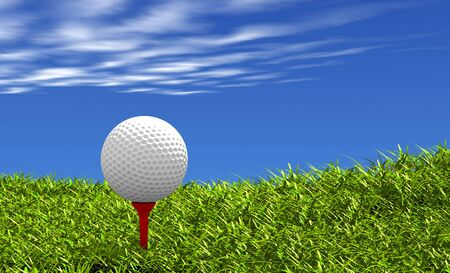 tee: Golf ball on red tee, with grass and sky background. Stock Photo