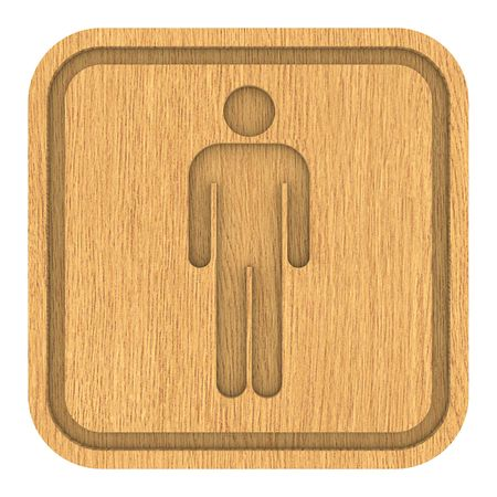 Wooden Men Toilets Sign. Part of a series.