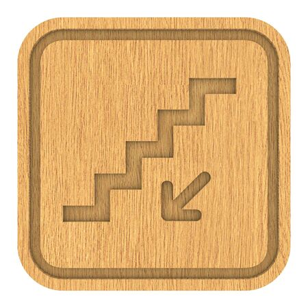 Wooden stairs down sign on a white background. Part of a series. photo