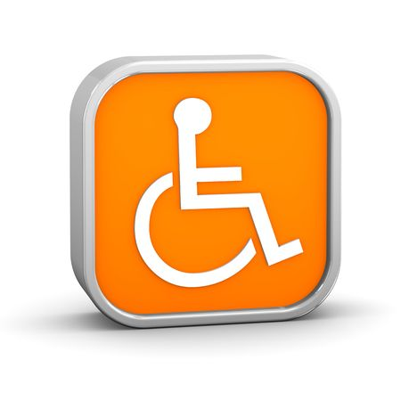 handicapped: Orange accessibility sign on a white background. Part of a series.