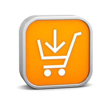 full shopping cart: Orange add to cart sign on a white background. Part of a series. Stock Photo