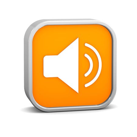 enable: Orange enable audio sign on a white background. Part of a series. Stock Photo