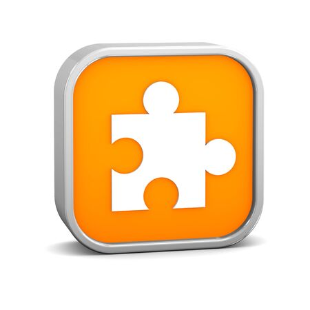 Orange puzzle sign on a white background. Part of a series. Stock Photo - 6933094