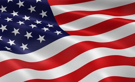 アメリカの国旗が風で吹きます。シリーズの一部です。