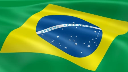 Brazilian flag in the wind. Part of a series. photo