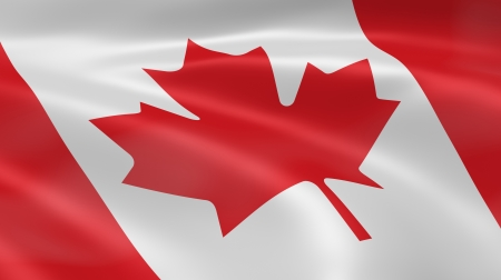 Canadian flag in the wind. Part of a series. Stock Photo