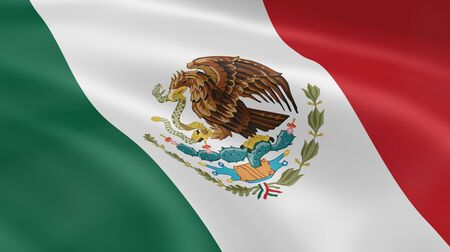 mexican flag: Mexican flag in the wind. Part of a series.