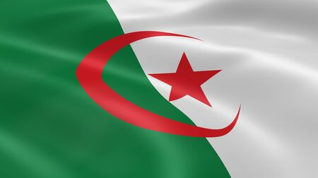 Algerian flag in the wind. Part of a series. Stock Photo - 7027312