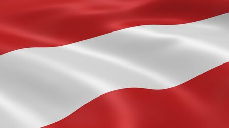 austrian: Austrian flag in the wind. Part of a series. Stock Photo