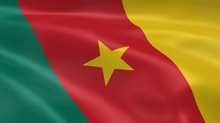 Cameroonian flag in the wind. Part of a series. Stock Photo - 7027289