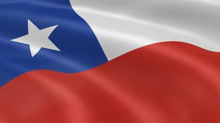 bandera chilena: Bandera chilena en el viento. Parte de una serie. Foto de archivo