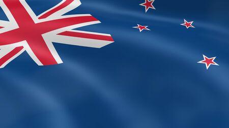 bandera de nueva zelanda: Bandera de Nueva Zelanda en el viento. Parte de una serie.  Foto de archivo