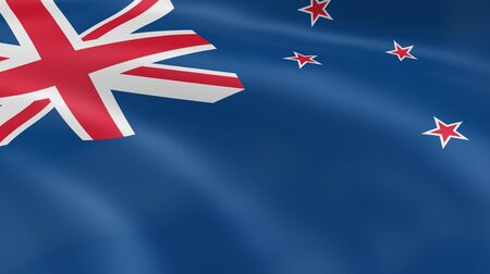 flag of new zealand: New Zealander flag in the wind. Part of a series. Stock Photo