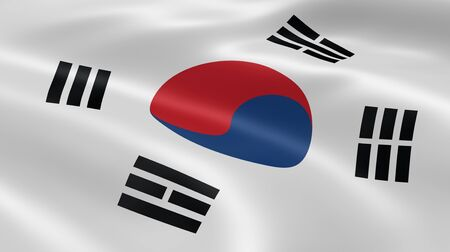 korea flag: South Korean flag in the wind. Part of a series.