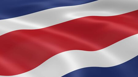 rican: Costa Rican flag in the wind. Part of a series. Stock Photo