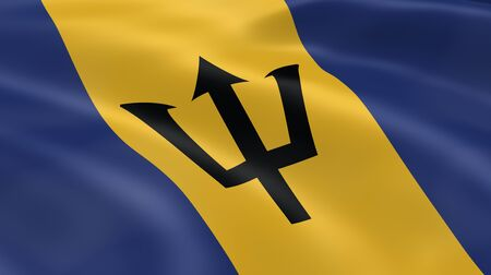 barbadian: Barbadian flag in the wind. Part of a series.