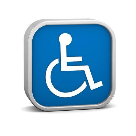 handicap: Segno di accessibilit� blu scuro su uno sfondo bianco. Parte di una serie.  Archivio Fotografico