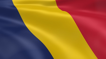chadian: Chadian flag in the wind. Part of a series. Stock Photo