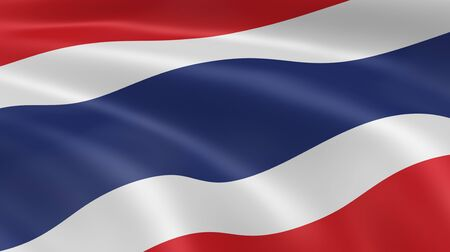 Thai flag in the wind. Part of a series. Stock Photo