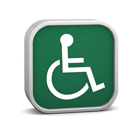 assistive: Green accessibility sign on a white background. Part of a series. Stock Photo