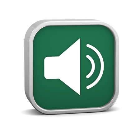 enable: Green enable audio sign on a white background. Part of a series.