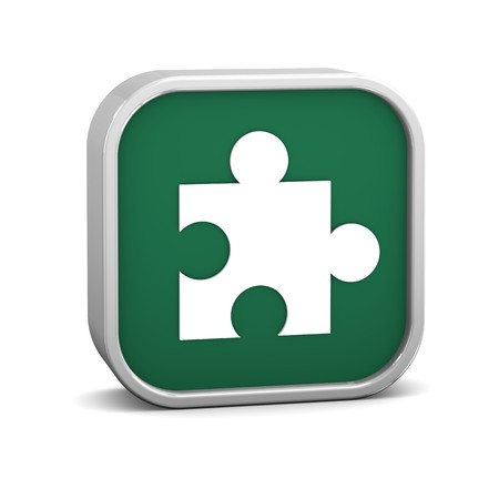 Green puzzle sign on a white background. Part of a series. Stock Photo - 8079503