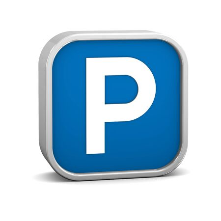 cars parking: Parking sign on a white background. Part of a series. Stock Photo