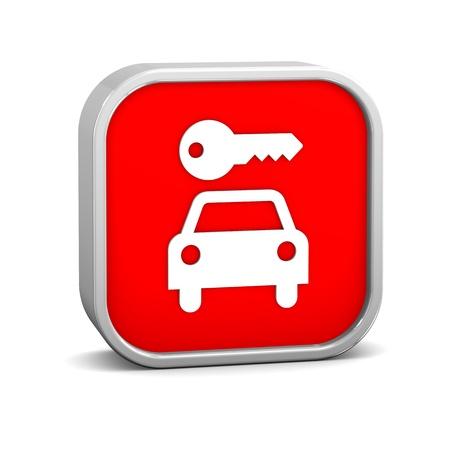 rental: Signo de alquiler de coches en un fondo blanco. Parte de una serie. Foto de archivo