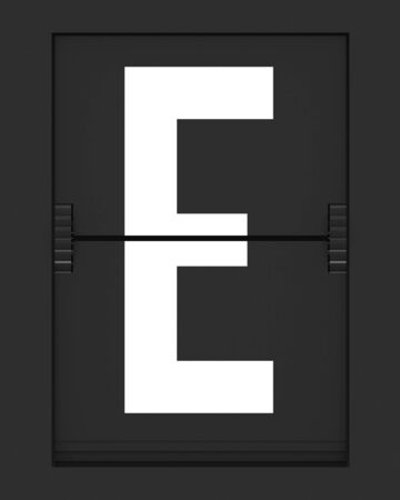e ticket: Letter from a split flap mechanical board. 3D render and part of a series. Stock Photo