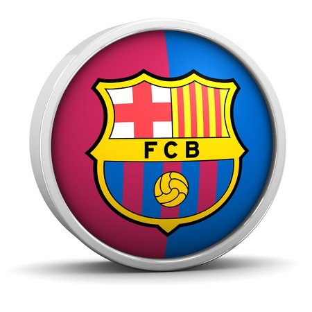 futbol: Barcelona logo with circular metal frame. Part of a series.