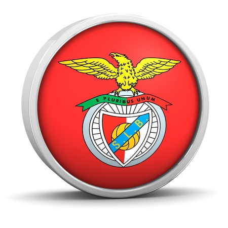 Benfica logo with circular metal frame. Part of a series.
