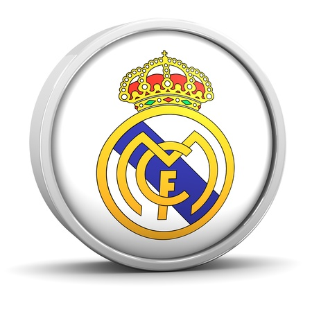 madrid  spain: Real Madrid logo with circular metal frame. Part of a series.