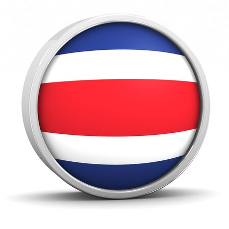 costa rican: Costa Rican flag  with circular frame. Part of a series. Stock Photo