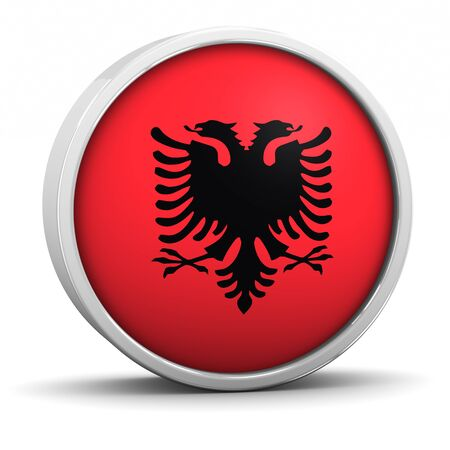 Albanian flag with circular frame. Part of a series. photo