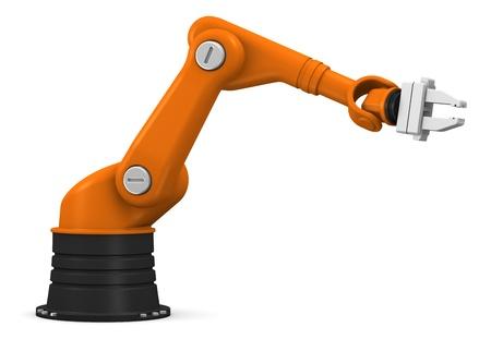 robot: PrzemysÅ'owy ramiÄ™ robota na biaÅ'ym tle Zdjęcie Seryjne