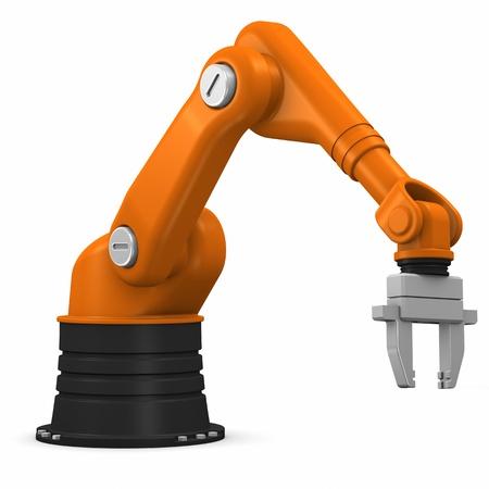 industrial mechanics: Brazo rob�tico industrial aislada sobre fondo blanco