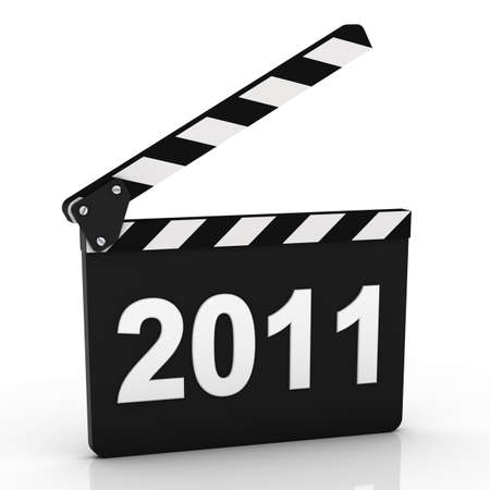 Opened clapboard with 2011 year isolated on a white background photo