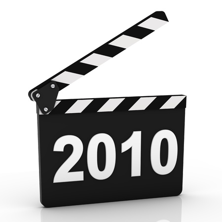 Opened clapboard with 2010 year isolated on a white background photo