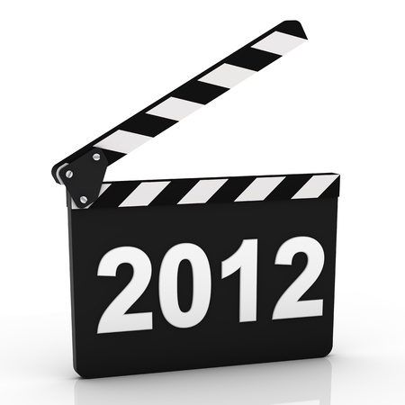 Opened clapboard with 2012 year isolated on a white background