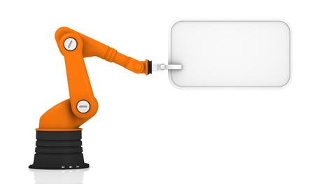 robotic: Robotic arm holding white tag
