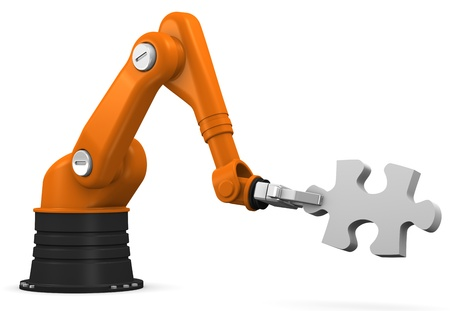 implementing: Robot holding jigsaw puzzle piece on a white background. Stock Photo