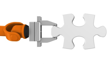 Robot holding jigsaw puzzle piece on a white background. Stock Photo