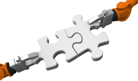 Robot holding jigsaw puzzle piece on a white background. Stock Photo - 10652336