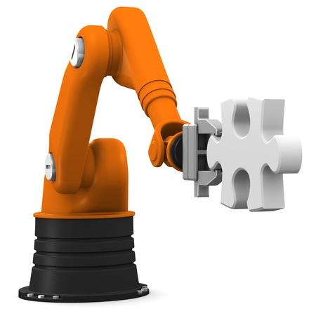 Roboter hält Puzzle Stück auf weißem Hintergrund. Standard-Bild - 10673210
