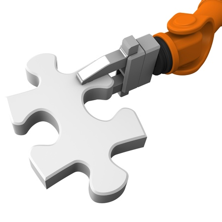 robotic: Robot holding jigsaw puzzle piece on a white background. Stock Photo