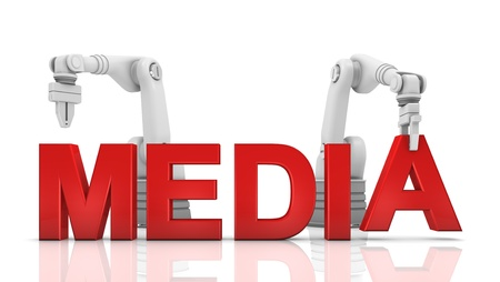 media equipment: Industrial robotic arms building JOBS word on white background Stock Photo