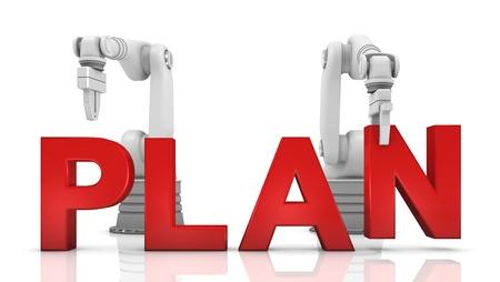 plan de accion: Industrial brazos robóticos edificio PLAN palabra sobre fondo blanco