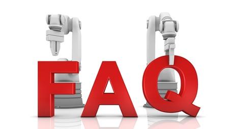mecanica industrial: Brazos rob�ticos industriales de construcci�n palabra FAQ en el fondo blanco