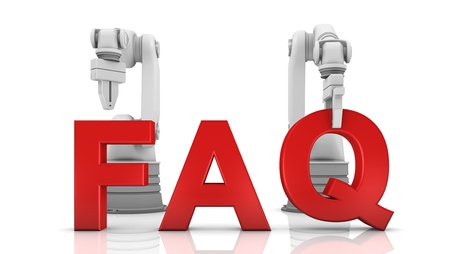 robotic: Industrial robotic arms building FAQ word on white background